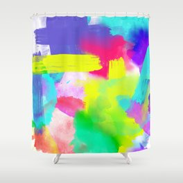Neon Emotion | Abstract Stripes Neon Artistic Watercolor Pattern Shower Curtain