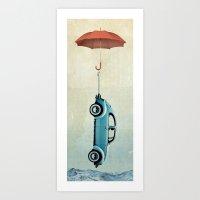 vw Art Prints featuring Water Landing VW beetle by Vin Zzep