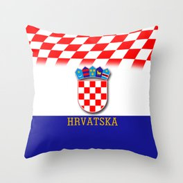 Croatian Flag Pattern EURO 2016 Throw Pillow
