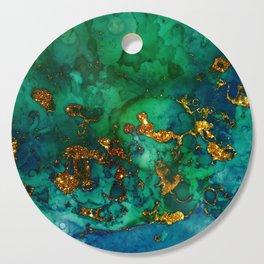 Emerald And Blue Glitter Marble Cutting Board