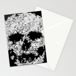 Geometric Light Grey Skull Composed Of Triangles Stationery Cards