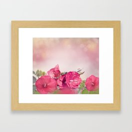 Blossom of Red Hibiscus Flowers Framed Art Print