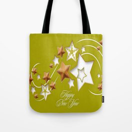 Olive and Umber Happy New Year Shooting Stars  Tote Bag