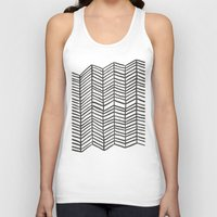 herringbone Tank Tops featuring Herringbone – Black & White by Cat Coquillette