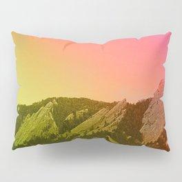 Boulder Colorado Flatirons Decor \\ Chautauqua Park Sunset Red Yellow Photo Nature Bohemian Style Pillow Sham
