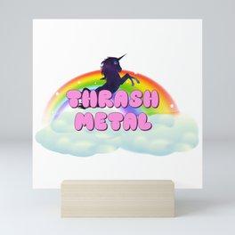 Thrash Metal Rainbow Unicorn in Space Mini Art Print