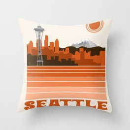 Seattle retro travel poster 70s color vibes minimal washington state gifts Throw Pillow