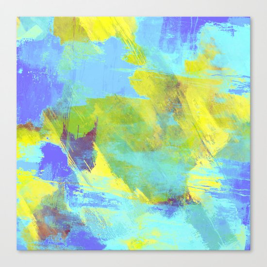 Hint Of Summer - Abstract, textured painting Canvas Print