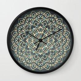Sea Shimmer Mandala - Gold + Turquoise Wall Clock