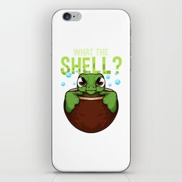 Cute & Funny What The Shell? Turtle Pun Animal iPhone Skin