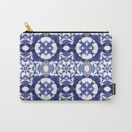 Portuguese Tiles Azulejos Blue and White Pattern Carry-All Pouch