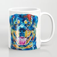 rottweiler Mugs featuring Colorful Rottie Art - Rottweiler by Sharon Cummings by Sharon Cummings