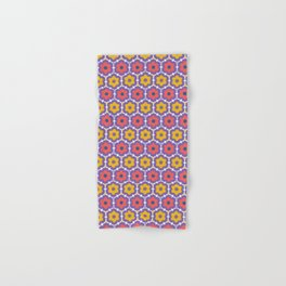 Coral red yellow daisy flower shapes. Vector pattern seamless damask background. Hand & Bath Towel