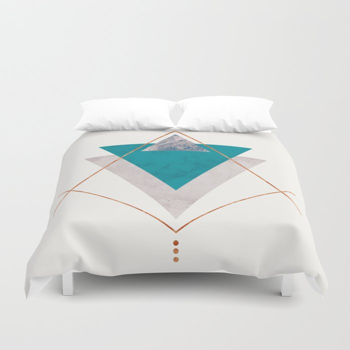 Teal Copper And Blush Geometric Duvet Cover