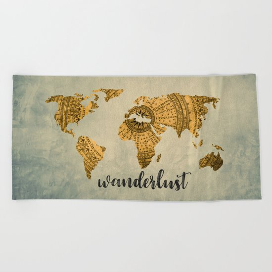 Wanderlust Vintage World Map Beach Towel