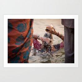 Holy water. Varanasi, India. Art Print