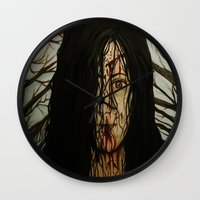 evil dead Wall Clocks featuring Evil Dead by Lydia Dick