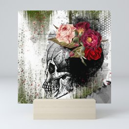 Flower Skull - Mixed Media Art Mini Art Print