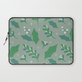 Abstract green white christmas holly berries floral illustration Laptop Sleeve