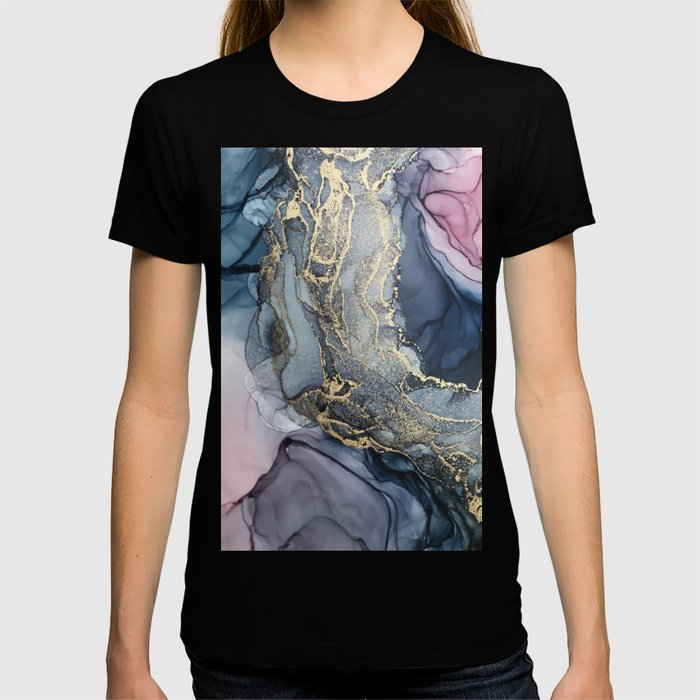 Blush, Payne's Gray and Gold Metallic Abstract T-shirt