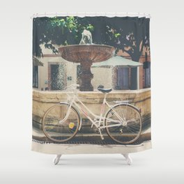 cycling across France on this pretty white bicycle Shower Curtain
