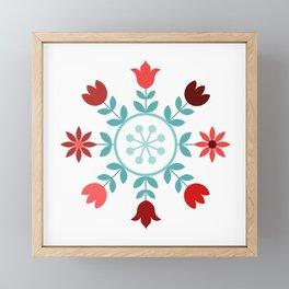 Scandinavian Style Flowers Teals & Reds Wheel Framed Mini Art Print
