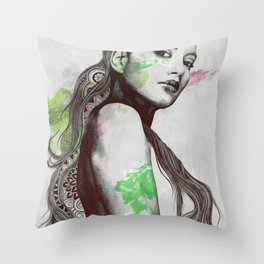 Cleansing Undertones: Acid Green | zentangle nude sexy girl portrait Throw Pillow