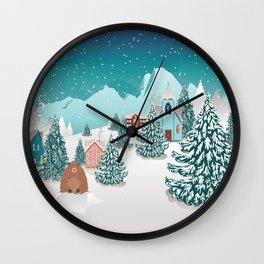 Rural winter landscape with houses, mountain and cute groundhog Wall Clock