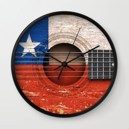 Old Vintage Acoustic Guitar with Chilean Flag Wall Clock