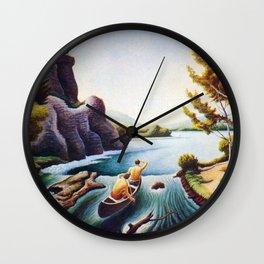 The Chute on the Buffalo River by Thomas Hart Benton Wall Clock