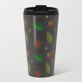 Fall Leaves on Linen Travel Mug