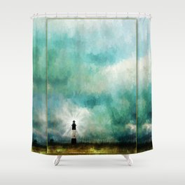 Tybee Island Lighthouse Painting Shower Curtain