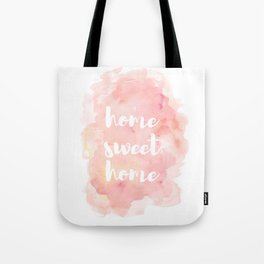 'Home Sweet Home' Typography Pinks Watercolour Tote Bag