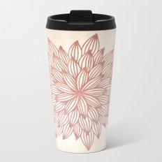 Mandala Flowery Rose Gold on Cream Metal Travel Mug