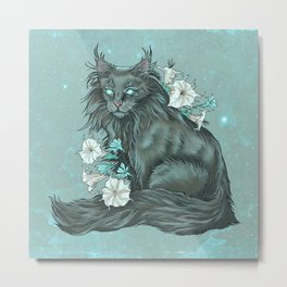 Maine Coon Cat and Moonflowers Metal Print