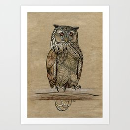 Paper Bag Owl Art Print