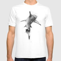 Shark II White Mens Fitted Tee MEDIUM