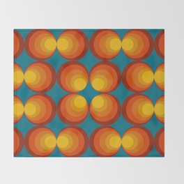 70s Circle Design - Teal Background Throw Blanket