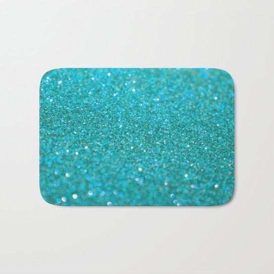 Bright Turquoise Glitter Bath Mat