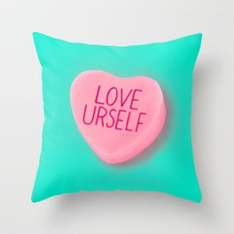 Love Yourself Candy Conversation Hearts Throw Pillow