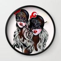 gemini Wall Clocks featuring Gemini by Felicia Cirstea