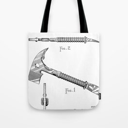 Firemans Axe Patent - Fire Fighter Art - Black And White Tote Bag