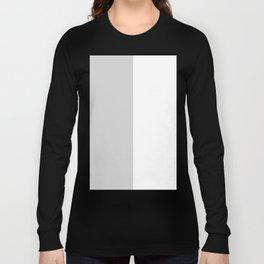 White and Light Gray Vertical Halves Long Sleeve T-shirt