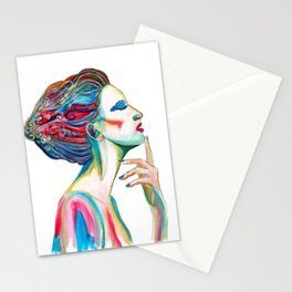 Colorful ink drawing of a women, ink art, girl illustration, modern women art Stationery Cards