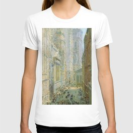 Classical Masterpiece 'Lower Manhattan - Broad and Wall Streets' by Frederick Childe Hassam T-shirt