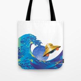 Hokusai Rainbow, UFO & the Moon  Tote Bag