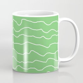 Green with White Squiggly Lines Coffee Mug