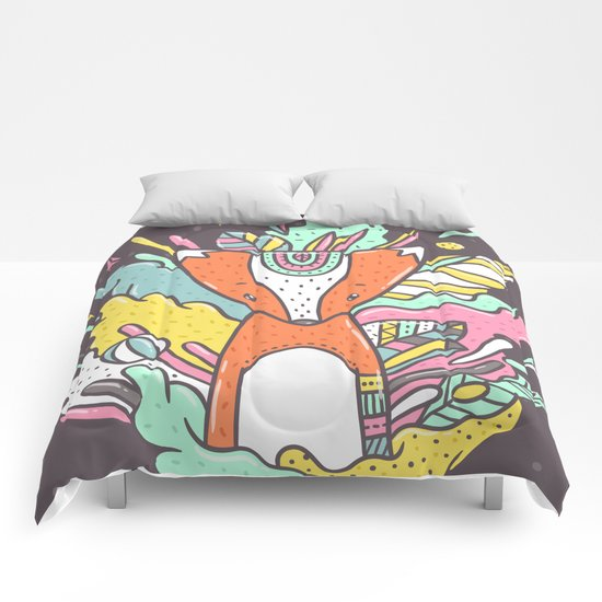 Abstract Fox Comforters