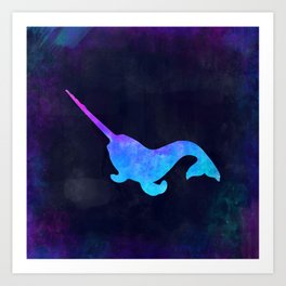 NARWHAL IN SPACE // Animal Graphic Art // Watercolor Canvas Painting // Modern Minimal Cute Art Print