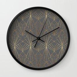 Art Deco in Gold & Grey Wall Clock